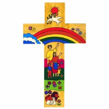 Rainbow Cross -Handpainted (25cm)