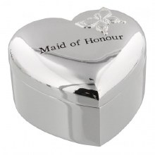 Amore Silver Plated Heart Trinket Box - 'Maid of Honour'