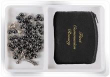 First Holy Communion Hematite Rosary Beads
