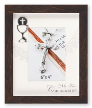 Brown First Holy Communion Wood Style Photo Frame