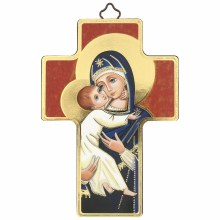 Madonna and Child Blue Icon Cricifix (12 x 9cm)