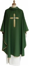 Green Chasuble Embroidered Cross with IHS Symbol