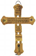 Our Father Olive Wood Cross with Holy Oil