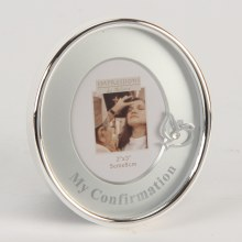 "Silver Plated Oval Frame Mount/Icon 2"" x 3"" - Confirmation"