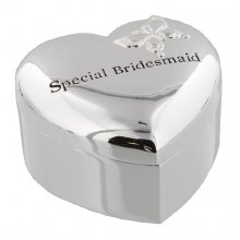 Amore Silver Plated Heart Trinket Box - 'Special Bridesmaid'