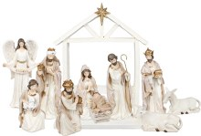 White and Gold Trim Nativity Scene  / Stable