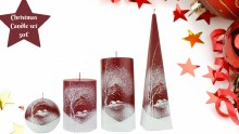 A1214 Red and White Robin  4 Candle Set