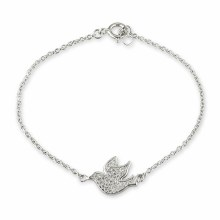 Sterling Silver Confirmation Dove Crystal Bracelet