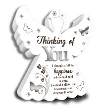 Thinking of you wooden angel plaque