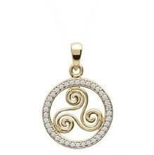 10Kt Gold Cubic zirconia Triscal Celtic Pendant