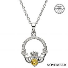 Claddagh Birthstone Necklace With Swarovski Crystals (November)
