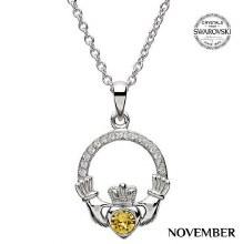 Claddagh Birthstone Necklace With Swarovski Crystals (November)