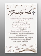 Footprints Glass Plaque 18 x 13 cm