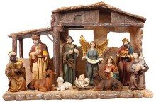 Nativity Set with Wood Stable and 11 Pieces