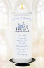 Blue Church Symbol Christening Candle