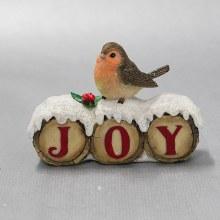 30505 Joy  Christmas Robin on Snow Covered Log 9cm