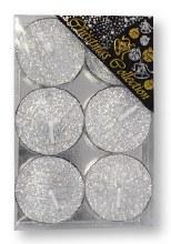 Silver Glitter Tealight set of six