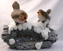 690155 Merry Christmas Robins with Light 40 x 32cm