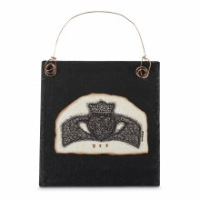 Claddagh Doodle Art on Slate with Copper wire hang