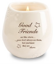 Stoneware Jar with Soy Wax Candle and Good Friends message