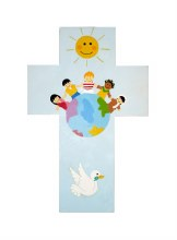 Blue Children of the World Wooden Cross (20cm)