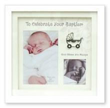 34922 Baptism White Box Frame holds two photos