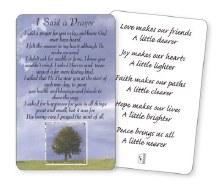I Said a Prayer prayercard