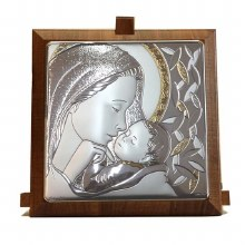 Silver Madonna and Child with Gold Trim (11 x 11cm)