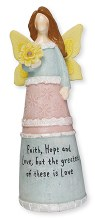 3942 Faith Hope and Love Message Angel 15cm