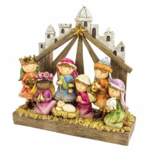 One Piece Resin Childrens Nativity Scene