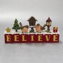 30508   Believe Christmas Robin Block 12cm