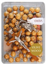 Olive Wood Rosary Beads with Crucifix