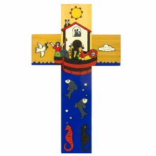 Noah's Ark Hand Painted Cross (25cm)