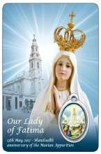 Our Lady of Fatima Prayercard with Medal