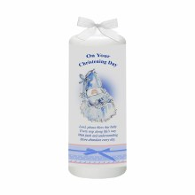 Blue Cradle and Bow Christening Candle 15cm