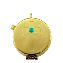 Gold Pyx with Cross design and Aqua Stone (4 hosts)