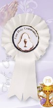 First Holy Communion Rosette Pearl Medal