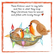CR002 Say Hello Christmas Robin Card