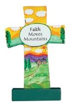 12544 Faith Wood Message Cross 9cm