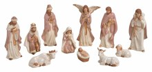 10025913 Pink with Gold Trim Porcelain Nativity