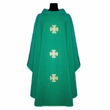 Green Chasuble with Embroidered Crosses