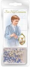 Blue Glass Communion Rosary Beads