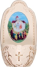 Cream Porcelain Our Lady of Knock Font (13cm)
