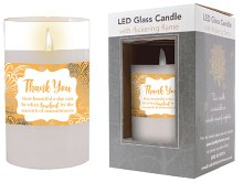 86726 Thank You LED Glass Candle 13 x 8 cm
