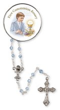 Blue Glass First Holy Communion Rosary Bead