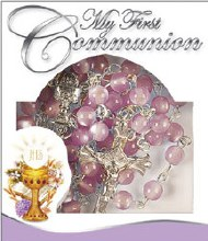 Pink Glass Rosary Beads for First Communion