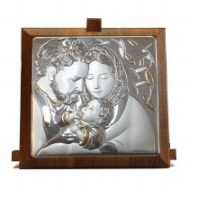 Siver Holy family Plaque with Gold Trim on walnut panel (15.5 x 7cm)