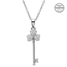 Sterling Silver Shamrock Key Necklace With Swarovski Crystals