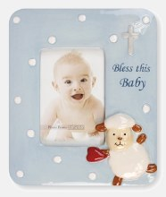 Blue New Born Baby Lamb Photo Frame