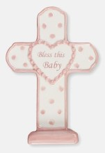 Pink Bless This Baby Cross